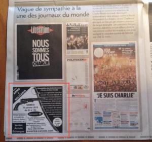Pub d'armes à côté d'un article sur la tragédie de Charlie Hebdo